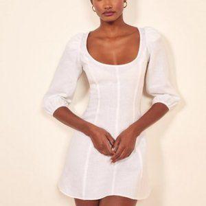 Reformation White Linen Maxine Mini Dress Sz 2